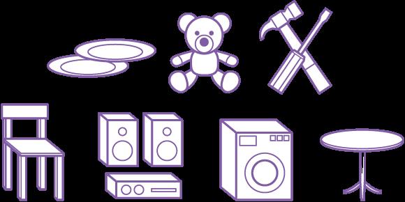Exemple d'objets pour l'espace réemploi